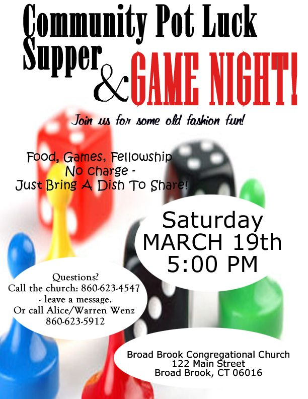Community Game Night & Pot Luck!
